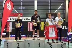 Siegerehrung im Herreneinzel bei der Deutschen Meisterschaft in Gera