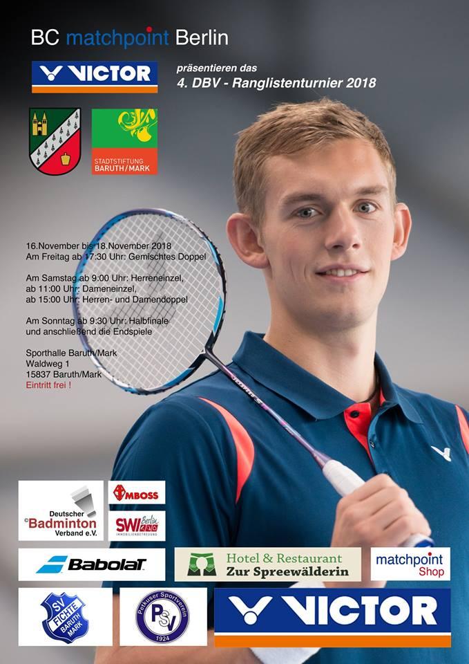 Deutschlands Badminton-Elite kämpft in Baruth/Mark um die direkte Qualifikation für die Deutsche Meisterschaft 2019 in Bielefeld