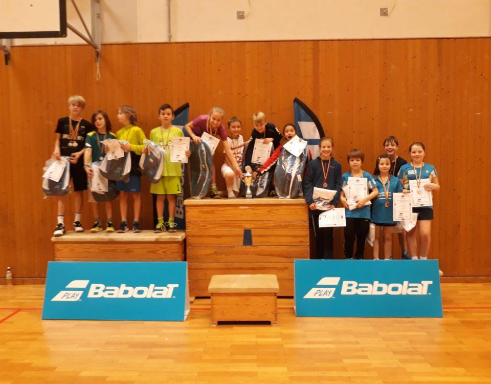 Foto von der Siegerehrung der Endrunde des Babolat Mini Cup 2018