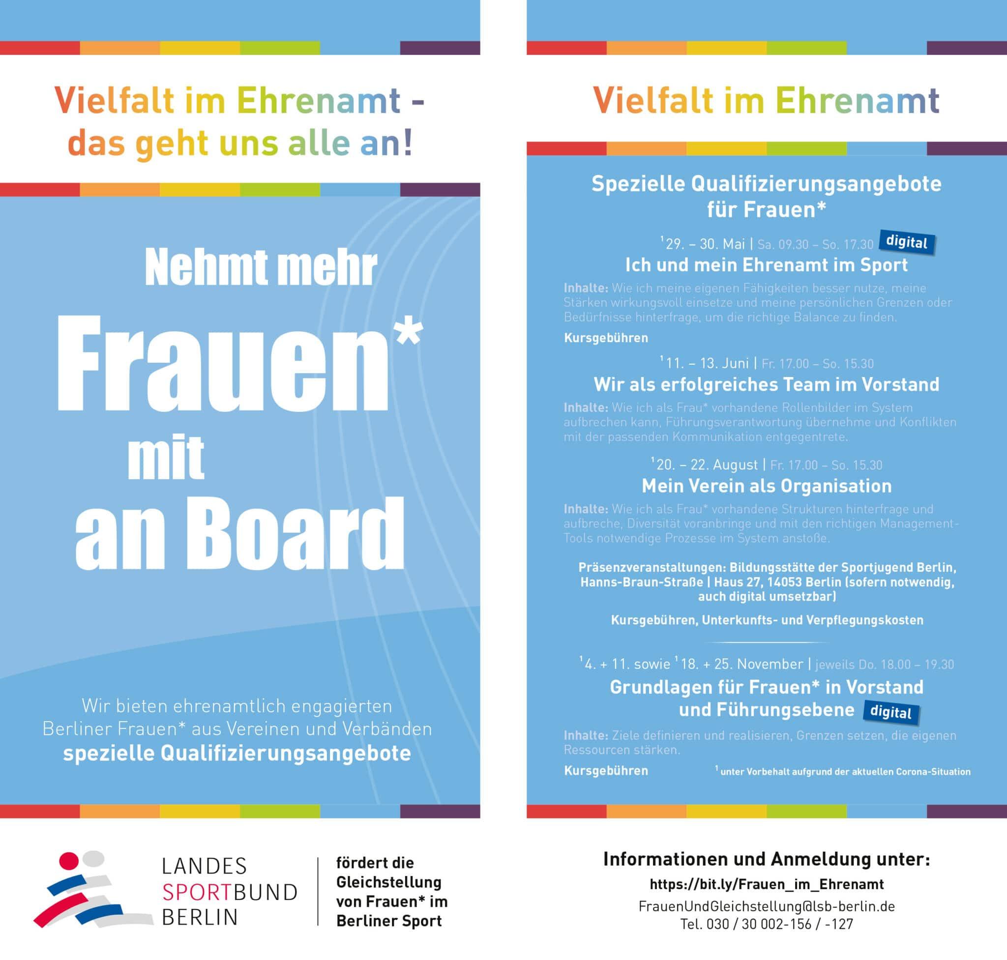 Informieren Sie Frauen* aus Ihrem Verein/Verband - LSB-Qualifizierungsmaßnahmen/Austauschformate